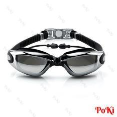 Kính bơi thời trang mắt tráng GƯƠNG 6615 bao gồm bịt tai, kính bơi ngăn UV cao cấp – POKI
