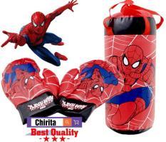 Đồ Chơi Trẻ Em – Tui Dam Boc + 2 Gang Tay Dam Boc Tre Em Boxing LOẠI VỪA 258C1 Người Nhện Spider Man – BBXV2