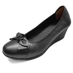 Giày Cao Gót 5cm Nữ Da Bò Thật Siêu Mềm Đế Xuồng Evelynv 5P01LM (Đen – Kem – Nâu)