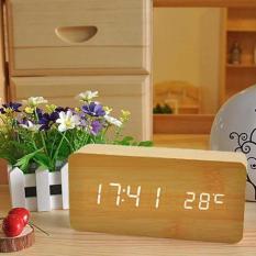 Đồng Hồ Gỗ Báo Thức điện tử điện tử Hình Chữ Nhật Wood LED Digital thông minh