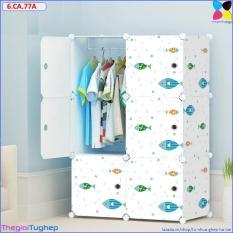 Tủ quần áo 6 ô cá xanh cửa cá xanh 6.CA.77