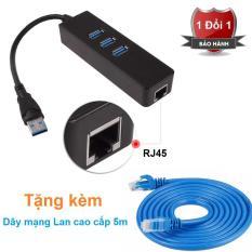 Hub USB 3 Port 3.0 to RJ45 Lan Card Gigabit Ethernet Network Cable