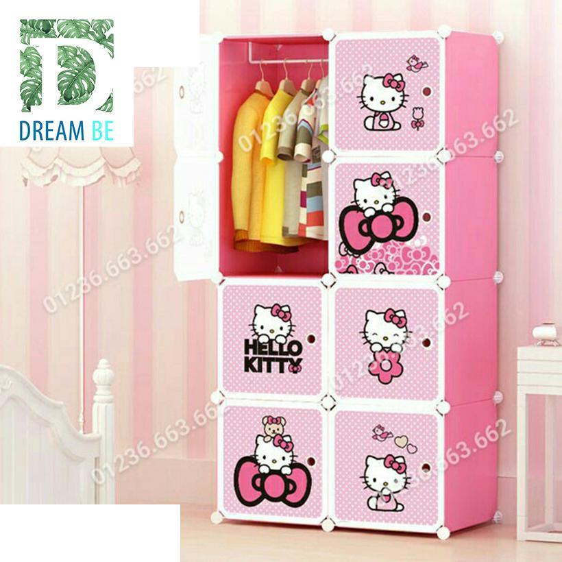 Tủ nhựa lắp ghép 8 ô hình kitty màu hồng