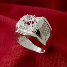 Nhẫn nam bạc 925, nhẫn nam bạc ổ cao, nhẫn nam bạc đá trắng – NNA95 – trang sức Bạc QTJ(BẠC)