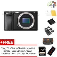 Máy ảnh Sony Alpha A6000 Body – Màu Đen – Tặng thẻ nhớ + Túi + Dán màn hình + Remote + Gói cài app + Nắp hotshoe + Bộ 2 Pin 1 Sạc đôi RAVPower FW-50 – Hàng phân phối chính hãng