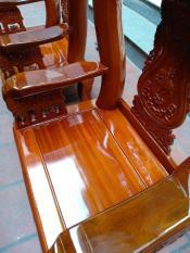 Bàn ghế phòng khách – Bộ quốc voi tay 12 gỗ nghiễn sơn PU