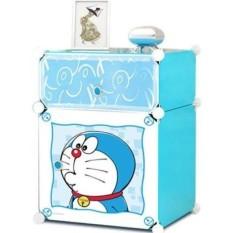 Tủ nhựa lắp ghép mini 2 tầng để đầu giường (Hình Doraemon)