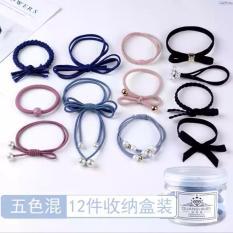 Hộp 12 dây nơ chun buộc tóc các mẫu GDHOA329