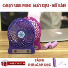 Quạt để bàn usb mini Fan 3 tốc độ cực mát. Tặng kèm +pin+dây cáp usb)