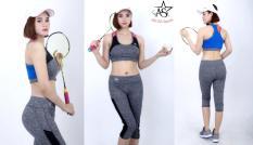 Bộ thể thao lửng nữ cao cấp phối lưới áo bra có kèm mút-DL701