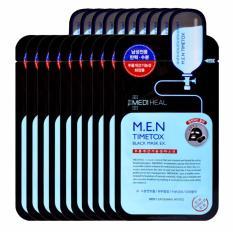 Hộp 10 Mặt nạ than hoạt tính làm sạch sâu dưỡng da căng mịn dành cho nam Mediheal M.E.N Timetox Black Mask Ex 25ml x10