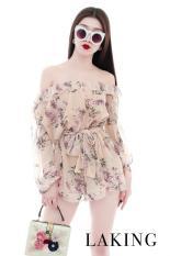 [niceshop1] Jump hồng in hoa trễ vai bèo kèm dây thắt