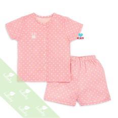 Hot 2018 Bộ quần áo cộc tay cài giữa vải xô 2 lớp Lullaby sz cho bé 3 tháng đến 4 tuổi