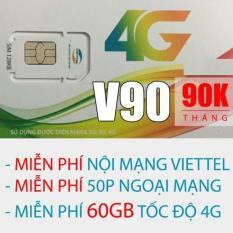 Sim 4G Viettel V90 (62Gb + 43000 phút gọi miễn phí / tháng).Sử dụng toàn quốc.