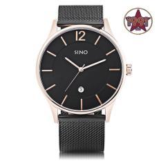 Đồng hồ nam Sino SI6147 dây thép lưới thời trang (đen-kim vàng)