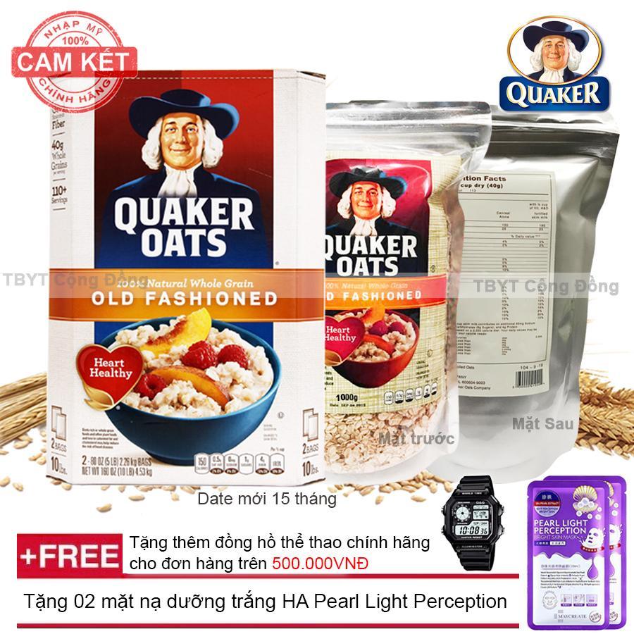 Yến mạch nguyên hạt cán dẹt Quaker Oats (1kg) + Tặng 02 mặt nạ dưỡng trắng HA Pearl Light Perception