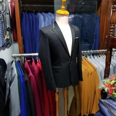 [Full Size] Áo Vest Nam Ôm Body Màu Đen Viền Đen Phong Cách