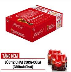 Budweiser lon 330ml – Thùng 24 – Tặng kèm Lốc 12 chai Cocacola 390ml