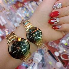 Cặp Đồng hồ Halei nam nữ cao cấp chống xước, chống nước tuyệt đối (Giá 1 đôi) dây vàng mặt đen