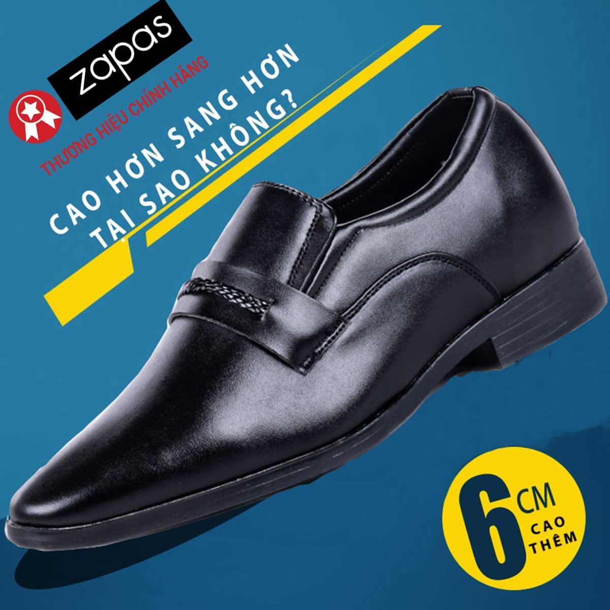 Giày Tây Tăng Chiều Cáo Zapas Tăng Chiều Cao 6cm – GH012 (Màu Đen)