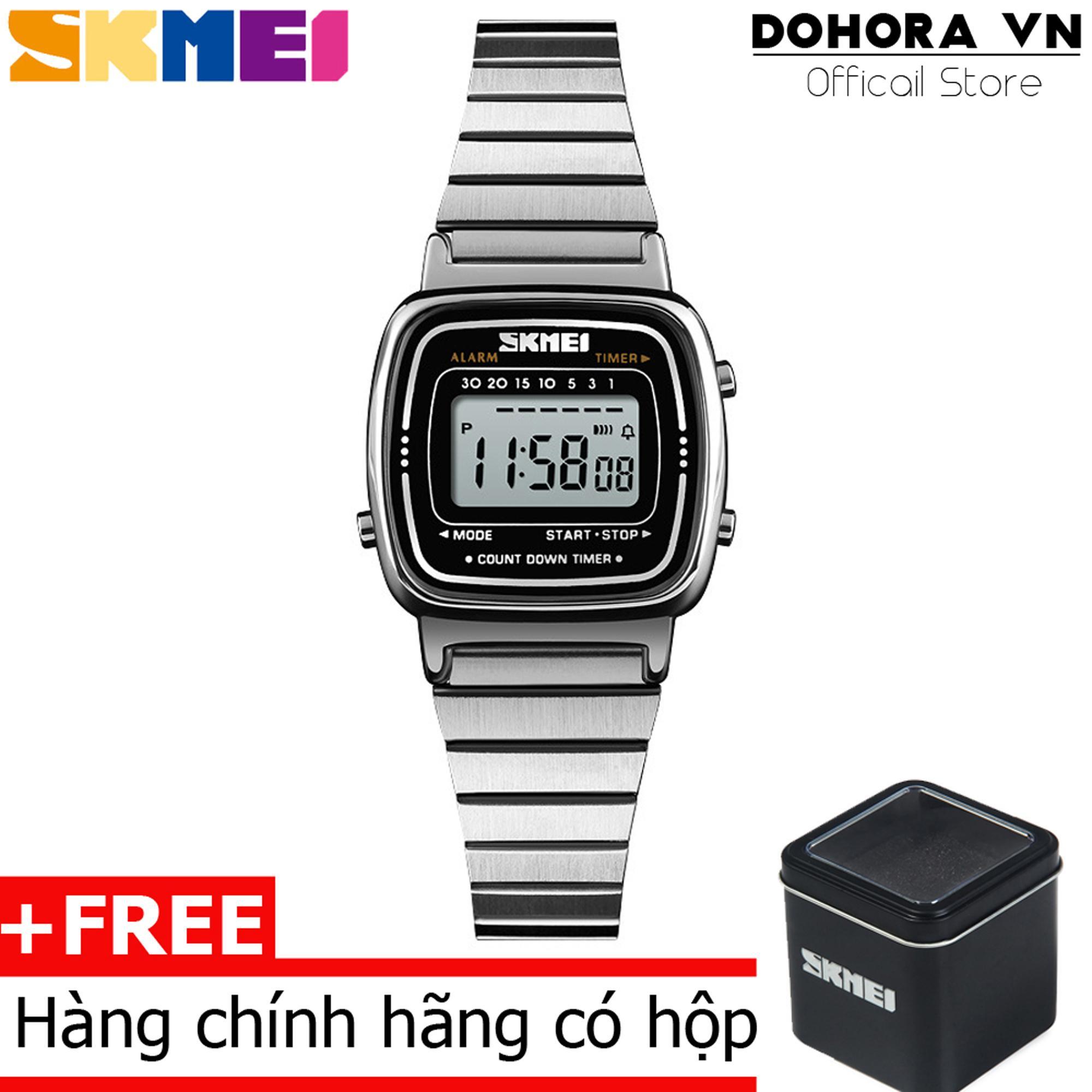 Đồng hồ điện tử nữ hot Skmei S670 Dual time dây thép không gỉ chống nước 30m
