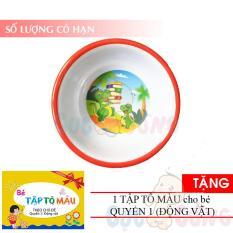 Chén cho bé tập ăn (nhiều hình) bằng nhựa – TẶNG 1 quyển tô màu (động vật) – chen tap an dam cho be