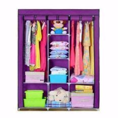 Tủ vải quần áo khung sắt 3 buồng 8 ngăn
