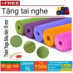 Thảm tập Yoga siêu bền loại dày 10mm có túi đựng + Tặng tai nghe