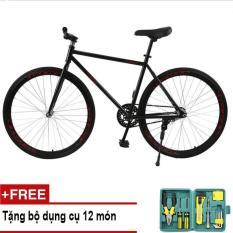 Mishio – Xe đạp Fixed Gear Air Bike MK78 (đen) + Tặng bộ dụng cụ 12 món