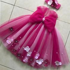 Váy tutu công chúa hồng sen pha hồng phấn 11 nơ hs