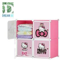 Tủ nhựa lắp ghép 4 ô hình kitty màu hồng