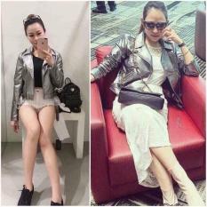 Áo khoác da nữ . màu nhũ ánh bạc