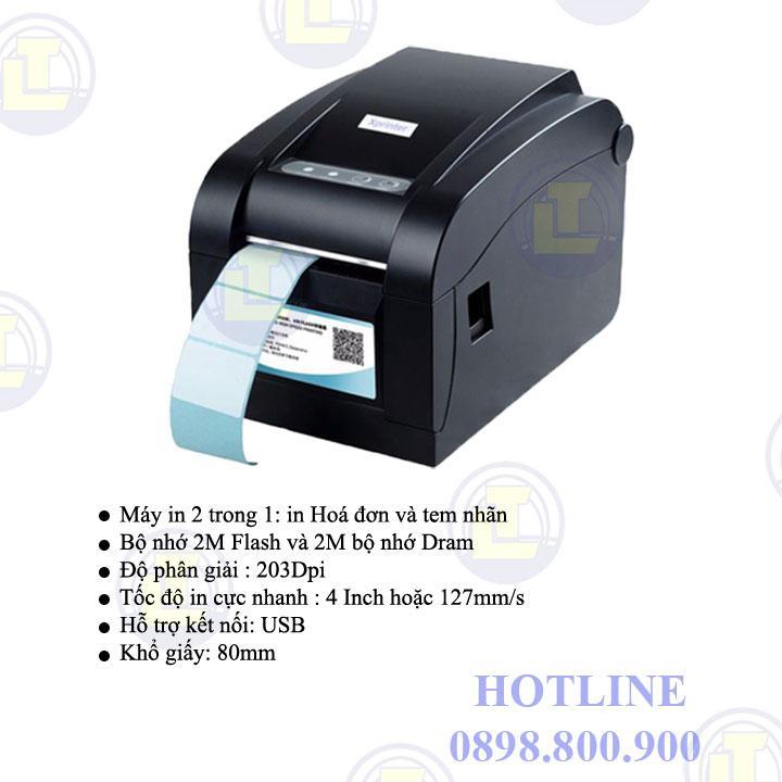 Máy in 2 trong 1 in hóa đơn và in nhãn Highprinter HP-400U, khổ in 80mm