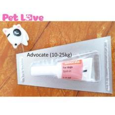 1 tuýp Advocate nhỏ gáy trị giun, ghẻ, ve rận, bọ chét (chó từ 10-25kg)
