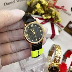 Đồng hồ nữ dây da cao cấp Halei dây đen mặt đen TẶNG 1 vòng tỳ hưu phong thủy may mắn HL545