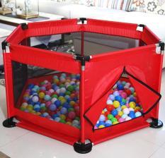 Cũi quây khung Inox kiêm nhà bóng chắc chắn an toàn cho bé (Đỏ+tặng 10 bóng)