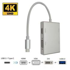 Type-C to HDMI / VGA / DVI / USB3.0 Adapter for Four Displays, for New MacBook, ChromeBook and Surface connected TV Set, Monitors and Projectors etc.