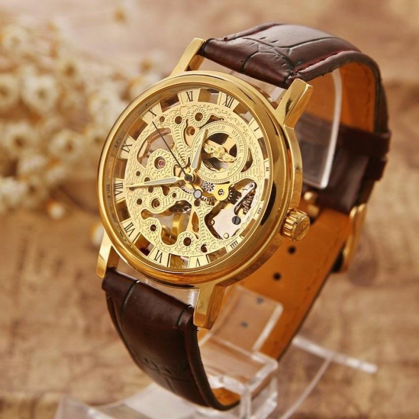 Đồng hồ cơ nam WINNER dây da cao cấp sang trọng thiết kế mặt tinh xảo JS-WIN1898 (Nâu)