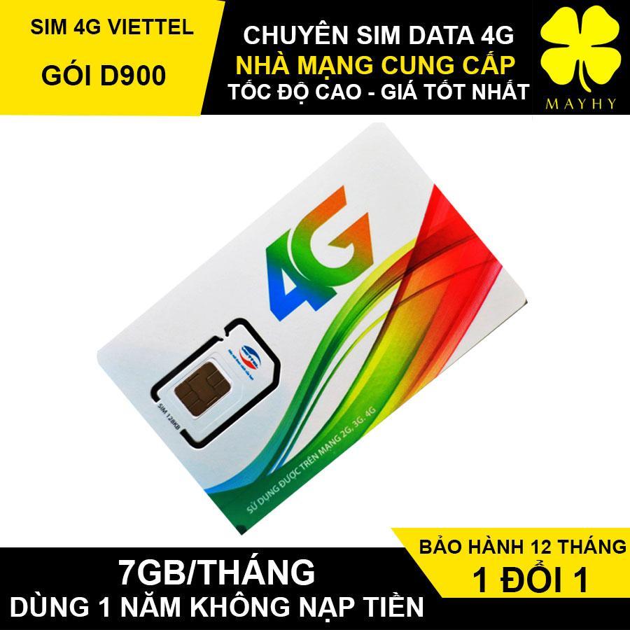 Sim 4G Viettel D900 trọn gói 1 năm 7GB/THÁNG 12 tháng không nạp tiền