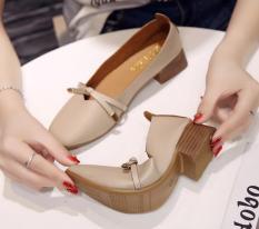 [Junisu] Giày búp bê 3 phân phối nơ da siêu mềm, gót vân gỗ – hàng fullbox