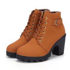 Giày Bốt Nữ Da Lộn Gót Vuông Jacob