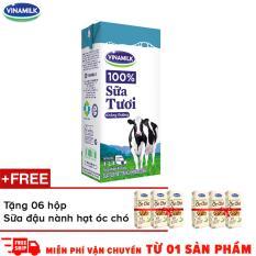 Thùng 12 hộp sữa tươi Vinamilk 100% hộp giấy 1L không đường_Tặng 6 hộp sữa đậu nành hạt óc chó