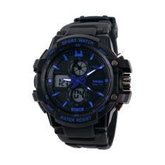 Đồng hồ nam dây cao su SKMEI 0990 (Đen viền xanh dương)
