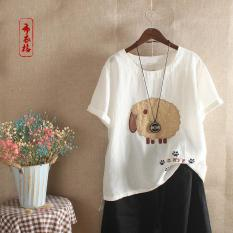 Áo kiểu nữ đẹp cao cấp vải Linen thêu – Áo kiểu nữ thêu – Áo nữ trung niên thêu