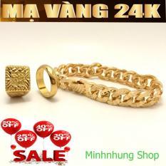 COMBO 03 Bộ trang sức mạ vàng 24k gồm ( Lắc tay – Nhẫn phát lộc – Nhẫn trơn 5 chỉ ) không phai mầu