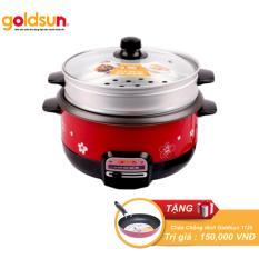 Nồi lẩu điện đa năng Goldsun MC-GAL368 3 Lít (Có khay hấp) (Đỏ)