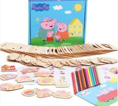Khuôn vẽ hình và ghép hình chủ đề peppa pig