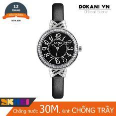 Đồng hồ nữ viền đá sang trọng có chống nước dây da cao cấp Skmei DA50