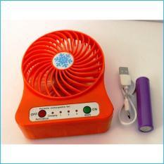 Quạt sạc tích điện mini (màu ngẫu nhiên) – Quạt USB tặng kèm 1thỏi pin + cáp sạc (sunzin quat usb)