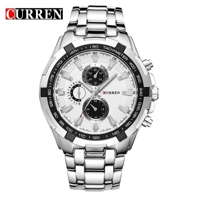 Đồng hồ nam Curren 8023 mặt trắng viền đen